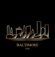 gold silhouette of baltimore on black background vector image