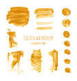 gold watercolor brush stroke smear texture vector image