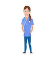 Medical Woman Cartoon Character Flat Design vector image