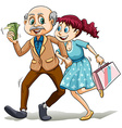 Young lady with her sugar daddy vector image