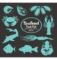 set animals on seafood vector image