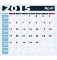 Calendar 2015 April design template vector image