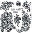 Hand-drawn mehendi flowers set vector image vector image