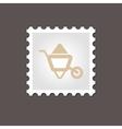 Wheelbarrow carts stamp Outline vector image