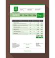 Customizable Invoice Form Template Design Green vector image