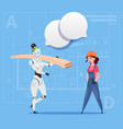 cartoon female builder working with robot carry vector image