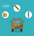 colorful poster of education with school bus in vector image