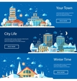 flat urban winter landscape compositions vector image