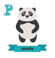Panda P letter Cute children animal alphabet in vector image