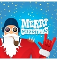 biker santa claus with smoking pipe vector image