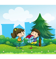 A boy and his girlfriend at the hill vector image vector image