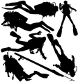 Scuba Diver Speargun Silhouettes vector image