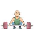 funny cartoon weightlifter vector image vector image
