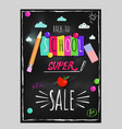 doodle back to school lettering poster vector image vector image