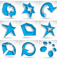 Set of 3d mesh colorful abstract objects isolated vector image