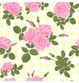 Beautiful seamless pink roses pattern vector image