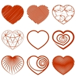 Set of heart shapes icons vector image