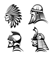 Knight viking samurai and native indian icons vector image