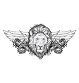 lion with floral and wings vector image