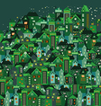 beautiful houses in the city vector image