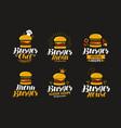burger logo or label fast food eating concept vector image