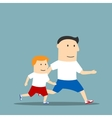 Cartoon father and son are jogging together vector image