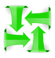 Green arrows set of curved web icons vector image