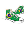 hand draw modern sport shoes with Brazilian flag vector image