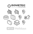 Isometric outline icons set 51 vector image