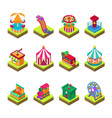 park amusement attraction park with carousels kid vector image
