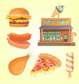 printmodern flat commercial restaurant building vector image