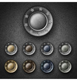 Set of Colorful metal button with inscription vector image
