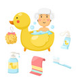 woman takes a bath set vector image