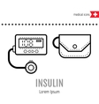 Equipment for diabetics Medical flat linear icon vector image vector image
