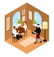 Waiter Service Isometric Composition vector image