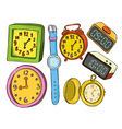 Set of various watch and clock doodle color vector image