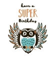 Super Hero owl drawing for greeting card or tee vector image
