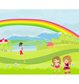 spring day children playing woman running vector image