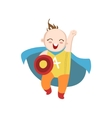 Boy Dressed As Superhero With Shield vector image