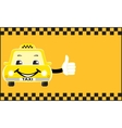 advertising card cartoon taxi showing thumb up vector image