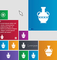 Amphora icon sign buttons Modern interface website vector image