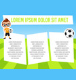 banner with funny cartoon child sportsman vector image