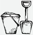 Bucket and spade vector image