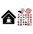 Cafe House Flat Icon with Bonus vector image