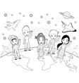 Children on the world in black and white vector image