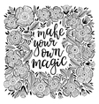 Hand-drawn lettering with flowers vector image