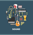 instruments with great sound formed in circle vector image