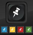 push pin icon symbol Set of five colorful stylish vector image