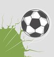 Soccer ball goes through the wall vector image