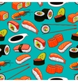 Sushi and rolls seamless pattern background vector image vector image
